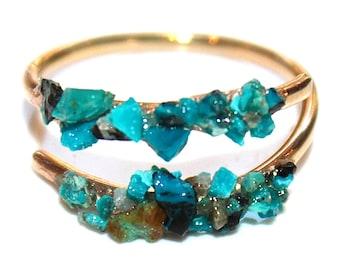 Raw Crysocolla Ring Raw Stone Ring Crushed Crysocolla Raw Crysocolla Ring Skinny Ring Boho Ring Stack Ring Modern Ring Raw Stone Jewelry