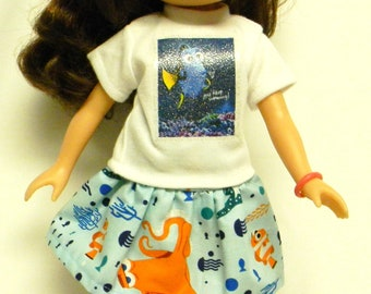 Dory Theme Outfit  For 14.5 Inch Doll Like Wellie Wishers