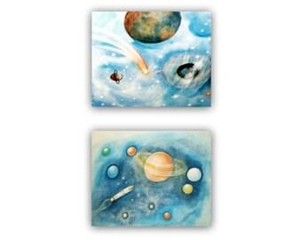 Outer Space Art, Kids Decor, Solar system, Kids Wall Art, Nursery Decor, Nursery Art, Space Nursery, SET OF 2 Prints, Kids art ,Space Decor