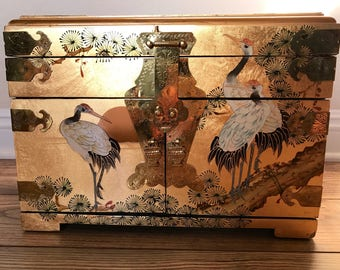 Vintage Mid Century Chinese Jewelry Box, Gold Lacquer with Cranes, Hollywood Regency Chinoiserie, Red Velvet Lined