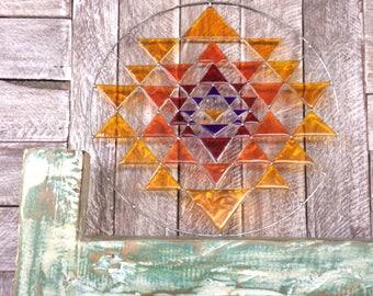 Sri yantra suncatcher 30 cm yoga decor mandala sacred geometry