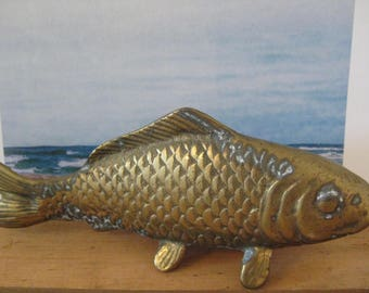 vintage brass koi fish - paperweight - desk accessory - nautical theme - beach theme - brass figurine - brass collectible - fisherman