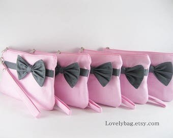 SUPER SALE - Set of 6 Light Pink with Little Gray Bow Clutch - Bridal Clutch, Bridesmaid Clutch, Bridesmaid Bag,Wedding Gift - Made To Order