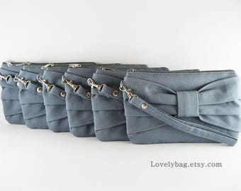 SUPER SALE - Set of 4 Gray Bow Clutches - Bridal Clutches, Bridesmaid Clutches - Made To Order