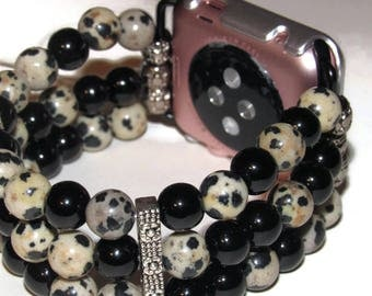 Mala Beaded Apple Watch Band - BeadsnTime - Dalmation Jasper and Black Onyx Apple Watch Band - Gift for Her - 38mm or 42 mm Apple Band