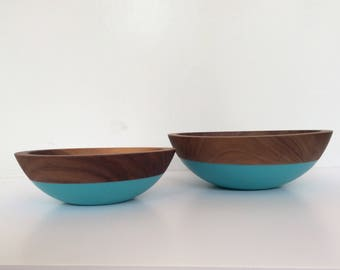Walnut Wood, Nesting Set Bowls By Willful | Turquoise, All Purpose Bowls