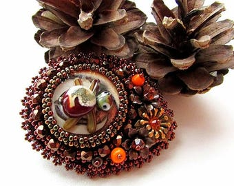 Embroidery Turtle Brooch Bronze Copper Turtle Brooch Bead Embroidered Shiny Unique Glass Brooch Flower Brooch OOAK Jewelry Ready to ship