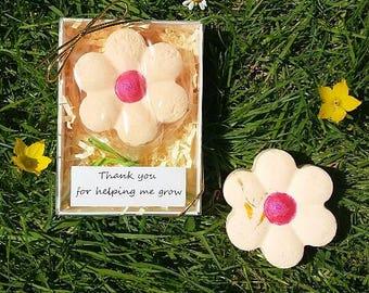 Teacher Thank you Gift Flower Power Solid Bubble Bath Bar Gift Box