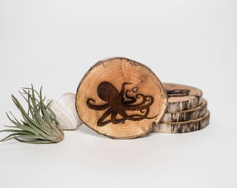 Octopus Coasters - Driftwood - Wood Coaster - Wood Slice - Sustainable Gift - Eco Houseware - Wedding Decor - Made in Canada - West Coast