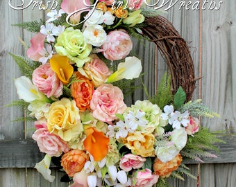 Spring Wreath, Easter Calla Lily Rose Garden Wreath, Mother's Day Cottage Garden Wreath, Hydrangea Peony Floral Wreath, Pink Yellow Peach