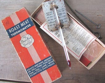 Ohio Thermometer Roast Meat Thermometer Vintage Glass Thermometer Prmitive Kitchen