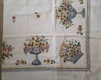 Tablecloth, flowers, easter, spring, vintage, white,