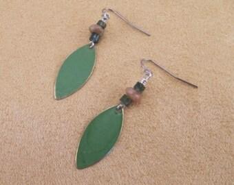 Earrings, green moss agate, jasper rondelles with marquis patina drop, elegant, simple, everyday earrings, surgical steel, hypoallergenic