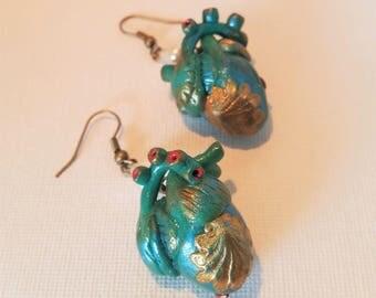 teal Mermaid heart earrings