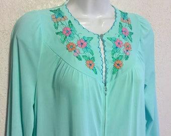 Vintage Aqua Nylon Gossard Artemis Floral Embroidery Lounge Nightgown, House Dress