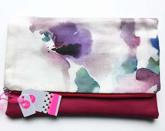 Pink Leather Clutch Bag, Faux Leather Fold Over Clutch with water colour Fabric, Handmade Clutch Bag, Faux Leather Clutch, Handmade Bag