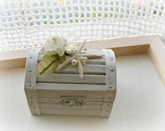 Shabby Chic Beach Wedding Treasure Chest Wood Ring Bearer Box With White Starfish and Pearls - For Beach Theme Weddings - Hamdmade