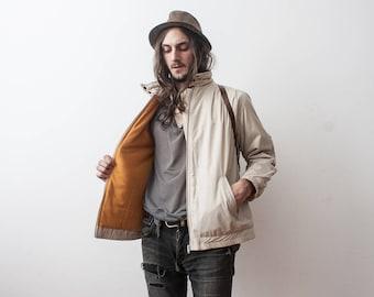RESERVED____Cream Puff Jacket 80s Windbreaker Anorak Quilted Filled Feather Warm Thermal Jacket Zip Up doudoune Blanche Veste Beige