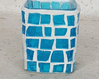 turquoise stained glass candle holder votive - home decor wedding gift