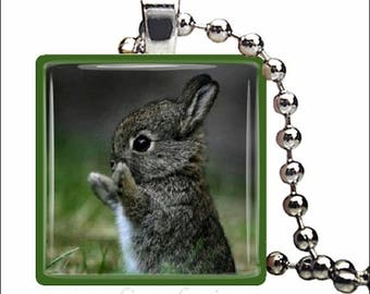 10% OFF JUNE SALE : Baby Bunny Rabbit Spring Easter Rabbit Glass Tile Pendant Necklace Keyring