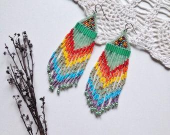 native american, beaded earrings,  ethnic earring,  tribal earrings,   bead earring,   boho earring,   fringe earrings,   beadwork jewelry