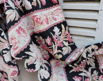 French, Vintage Fabric, French Vintage Roses ,Valance,  Tissu Ancien, Napoleon III ,Toile Shabby, Fabric, Old french Roses,  French Chateau