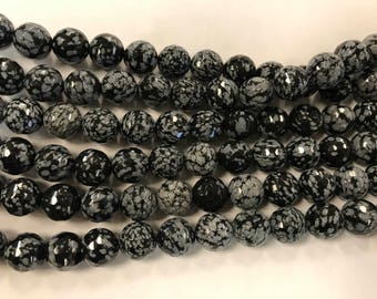12mm snowflake agate  round beads, faceted, around 30beads, genuine gemstone