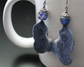 Blue fossil coral and Basha bead earrings long boho earrings raw nugget slices earrings iridescent glass bead earrings oxidized sterling