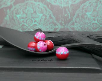 Magenta Pink Red Blue Polka Dot Round Wood Bead - Hand Painted Moroccan Style Wood Bead - 7-8mm - Pkg. 8