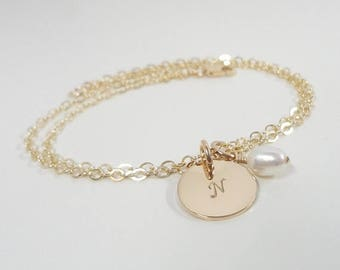 SALE - Gold Filled Initial Bracelet with Swarovski Birthstone - Hand Stamped Mommy Jewelry - Personalized Hand Stamped Jewelry