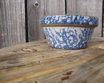 Vintage Stoneware Blue and White Bowl