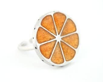 Silver orange Ring, Ring orange, sterling silver ring, adjustable ring, enamel jewelry food jewels, fruits