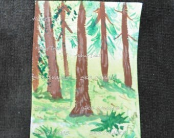 Hand Painted ACEO , Forest, miniature painting, original painting, artist trading card. forest wall art, Fine art watercolor by HikingTrails