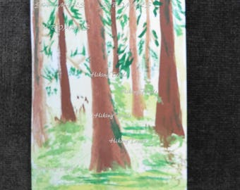 Hand Painted ACEO, The Forest, original painting, minature forest wall art, collectable card,, Fine Art Watercolor by HikingTrails