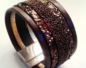 glitter brown leather cuff bronze silver clasp