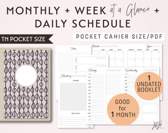 POCKET Size Monthly-Weekly-Daily Schedule TN Printable Booklet Insert - fits Traveler's Notebook Pocket Size