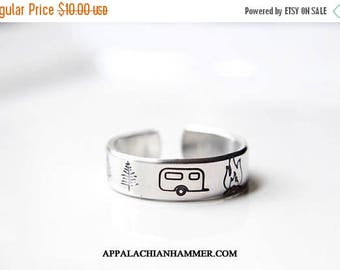 WEEKEND SALE Camping Hand Stamped Ring, Camper, RV, Tent, Nature, Campground, Deer, Trees, Campfire, Bonfire, Outdoors, Glamping