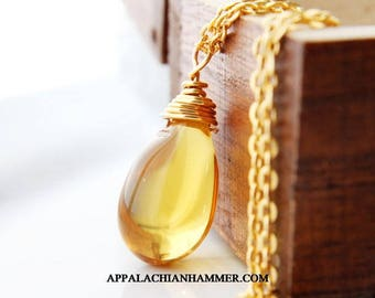 Large Honey Gold 24K Gold Plated Wire Wrapped Briolette Necklace