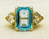 Eye-Catching Large 14K Yellow Gold Emerald Cut Swiss Blue Topaz & Aquamarine Accented Natural Gemstone Cocktail Statement Ring Size 5