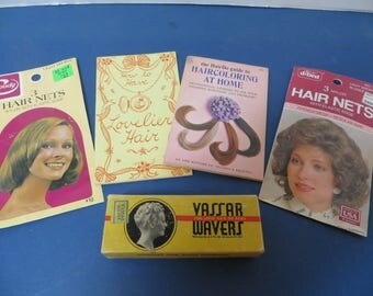 Antique Vassar Hair Wavers, 2 Vintage Hair Nets and 2 Vintage Hair Care Booklets