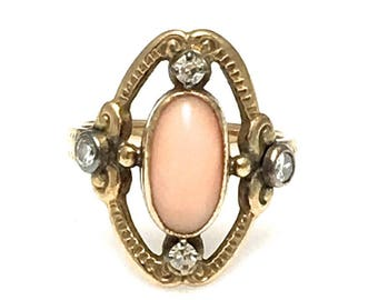 Victorian Ring - 14k Yellow Gold Coral and Diamond Ring - Size 3 1/2 - Oval Light Pink Coral - Round Diamonds - Antique Ring - # 4237