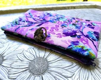 Women's Wallet, Purple Wallet, Bird Wallet Clutch, Natural Wonders