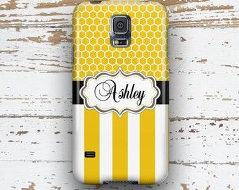 Stripe Samsung S6 case, Pretty S5 case, Cute S4 case, Protective case, Gifts for women, Yellow black stripe (1007)
