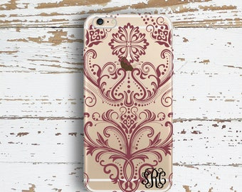 Monogram Iphone 6 Plus case clear, Damask Iphone 6s case clear, Floral Iphone cover Maroon damask - For 5/5s/SE,  6/6s /Plus, 7 /Plus (1596)