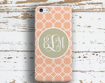 Preppy Iphone 6 + case, Pretty Iphone 5c case, Cute iPhone 4 case, Womens Fashion iPhone 5 case, Gift for women, Peach coral gray (9786)