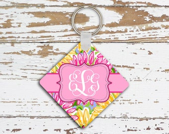 Tropical keychain with monogram, Pink and yellow sunflowers, Preppy floral auto accessory, Gifts for women (1681)