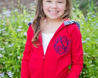 Girls Monogrammed Ruffle Hoodie - Lightweight Gingham Trimmed Zip Front Jacket with Custom Monogram