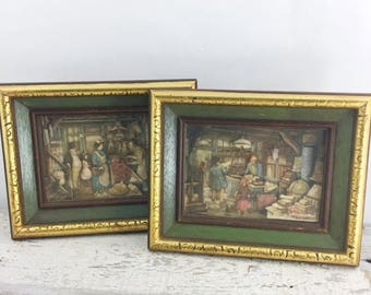 SUMMER SALE 2 Vintage Anton Pieck Framed Art Pieces