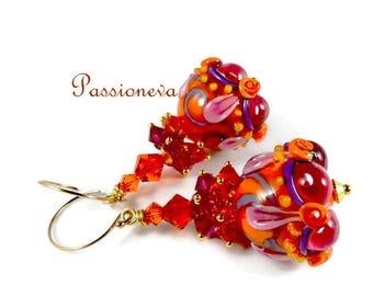 Earrings swarovski lapwork vermeil14carats colorful Lampwork Glass Beads.