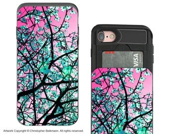 Pink and Green Tree Blossom iPhone 7 and iPhone 8 Card holder Case - Aqua Blooms - Wallet Case for Apple iPhone 7 with Rubber Sides
